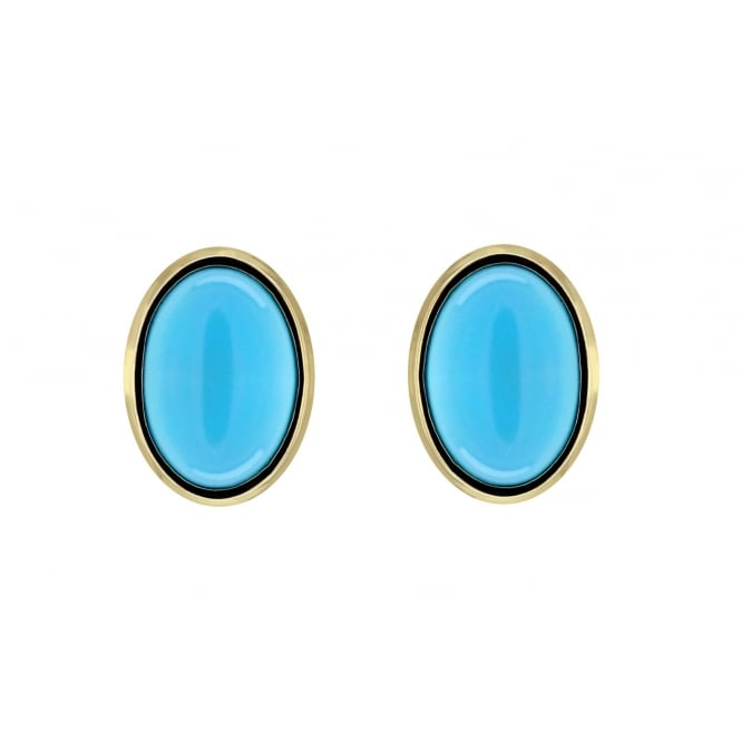 9ct yellow gold 8x6mm oval turquoise stud earrings.