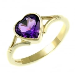 9ct yellow gold 8x8mm heart rubover amethyst ring.