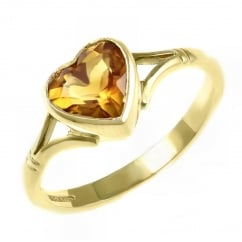 9ct yellow gold 8x8mm heart shape citrine ring.