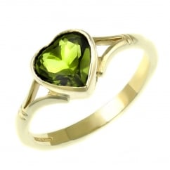 9ct yellow gold 8x8mm heart shape peridot ring.