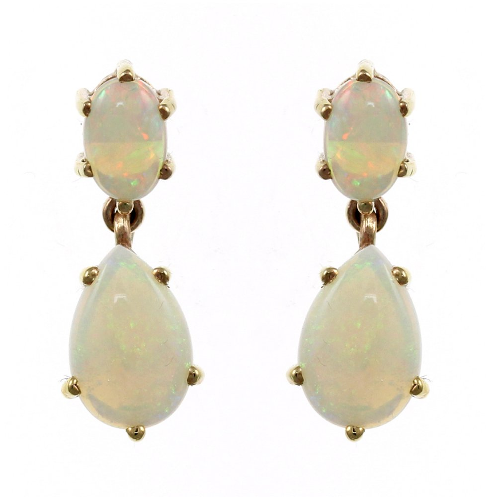 9ct Yellow Gold 9mm X 7mm 6mm 4mm Natural Opal Drop Earrings