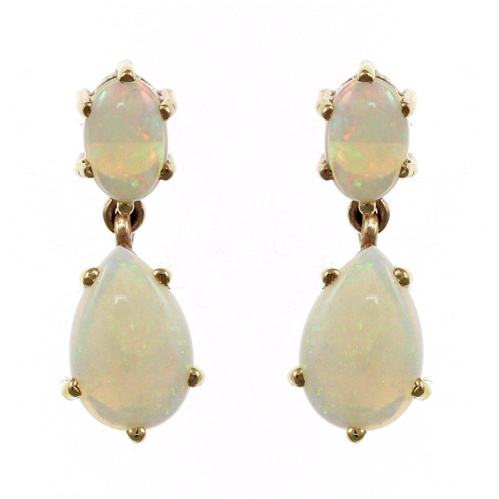 9ct Yellow Gold 9x6mm 6x4mm Opal Drop Earrings