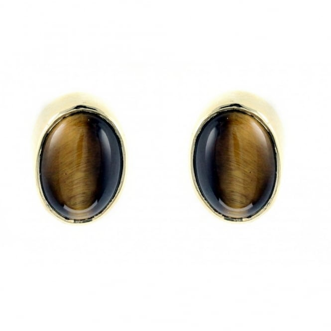 9ct yellow gold 9x6mm tigers eye stud earrings.