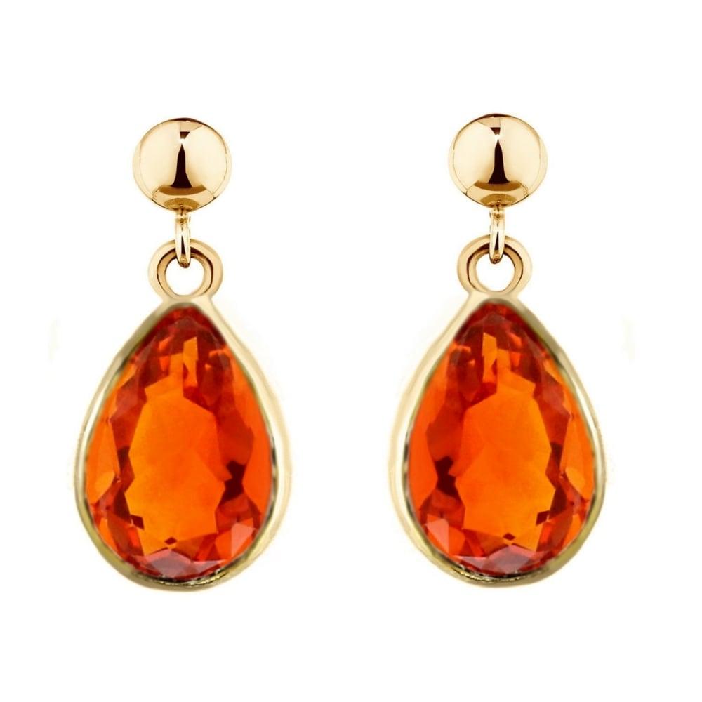 9ct Yellow Gold 9x7 Fire Opal Drop Earrings