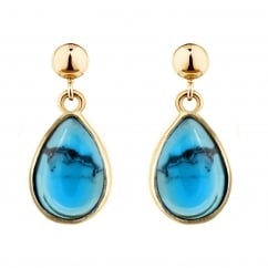 9ct yellow gold 9x7 pear turquoise matrix drop earrings.
