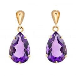 9ct yellow gold 9x7mm amythyst drop earrings