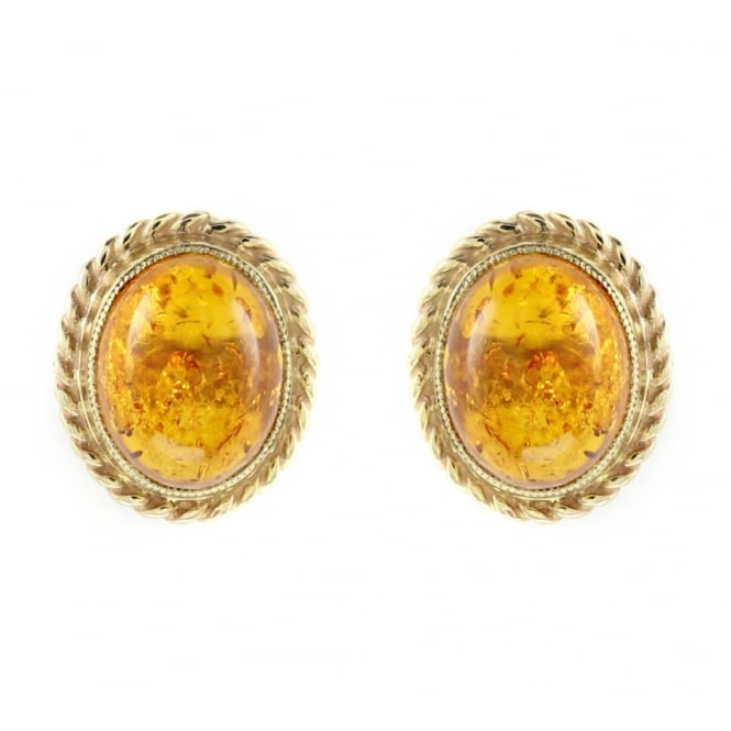 9ct yellow gold 9x7mm cabachon oval amber stud earrings.