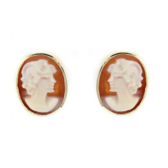 9ct yellow gold 9x7mm cameo stud earrings.