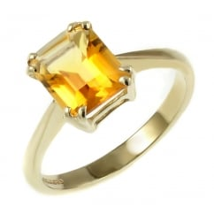 9ct yellow gold 9x7mm emerald cut citrine ring.