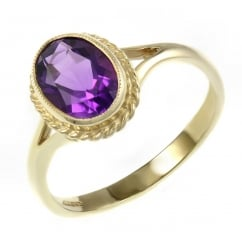9ct yellow gold 9x7mm oval amethyst ring.