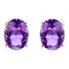 9ct yellow gold 9x7mm oval amethyst stud earrings.