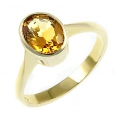 9ct yellow gold 9x7mm oval citrine ring.