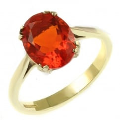 9ct yellow gold 9x7mm oval fire opal ring.