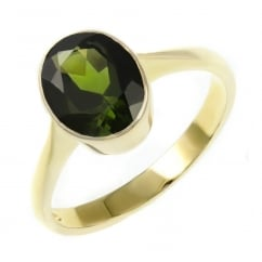 9ct yellow gold 9x7mm oval green tourmaline ring.