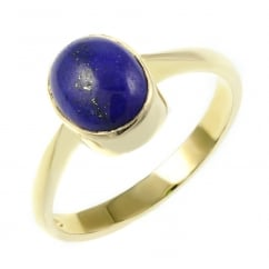 9ct yellow gold 9x7mm oval lapis ring.