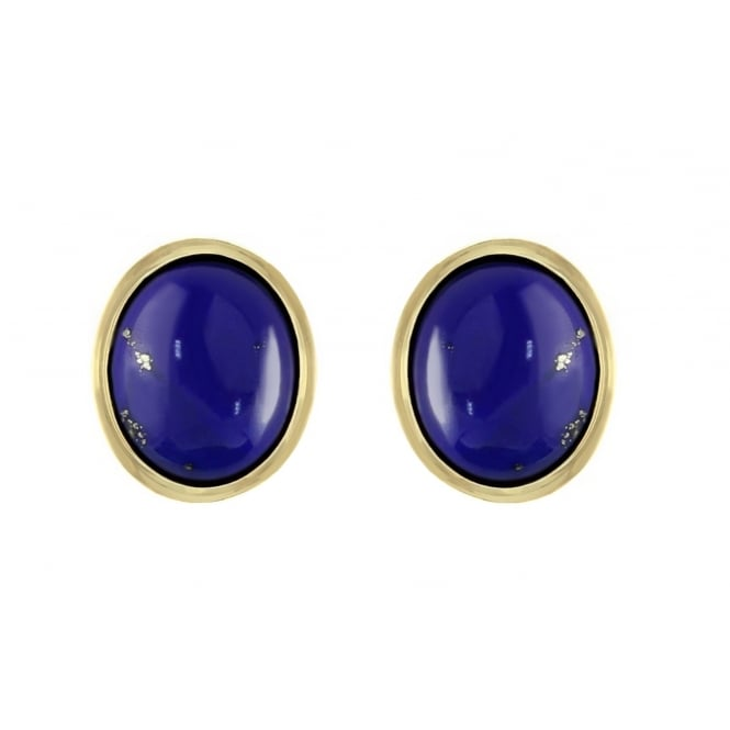 9ct yellow gold 9x7mm oval lapis stud earrings.