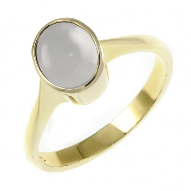 9ct yellow gold 9x7mm oval moonstone ring.