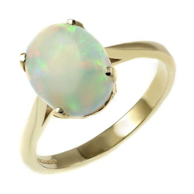 9ct yellow gold 9x7mm oval natural opal ring.