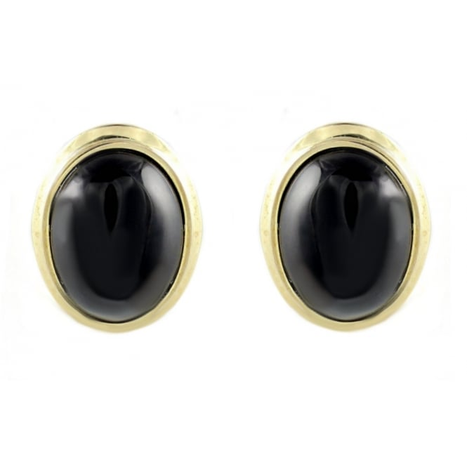 9ct yellow gold 9x7mm oval onyx stud earrings