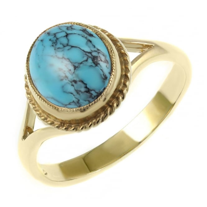 9ct yellow gold 9x7mm oval turquoise matrix ring.