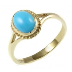 9ct yellow gold 9x7mm oval turquoise ring.