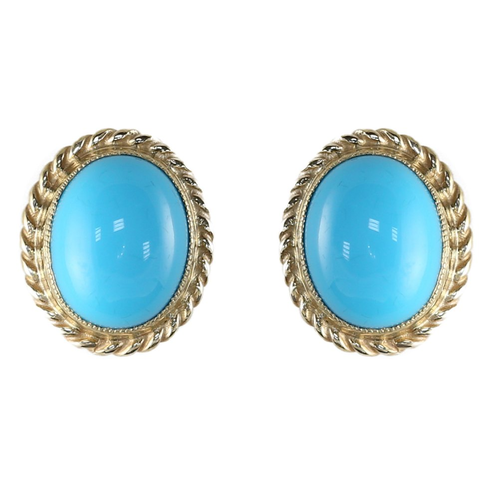 9ct Yellow Gold 9x7mm Oval Turquoise Stud Earrings