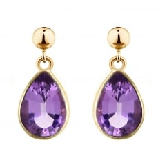 9ct yellow gold 9x7mm pear amethyst drop earrings.