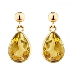 9ct yellow gold 9x7mm pear citirne drop earrings.