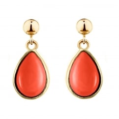 9ct yellow gold 9x7mm pear coral drop earrings.