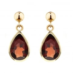 9ct yellow gold 9x7mm pear garnet drop earrings.