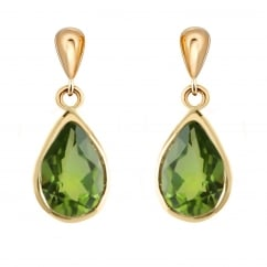 9ct yellow gold 9x7mm pear peridot drop earrings.