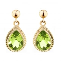 9ct yellow gold 9x7mm pear peridot stud earrings.