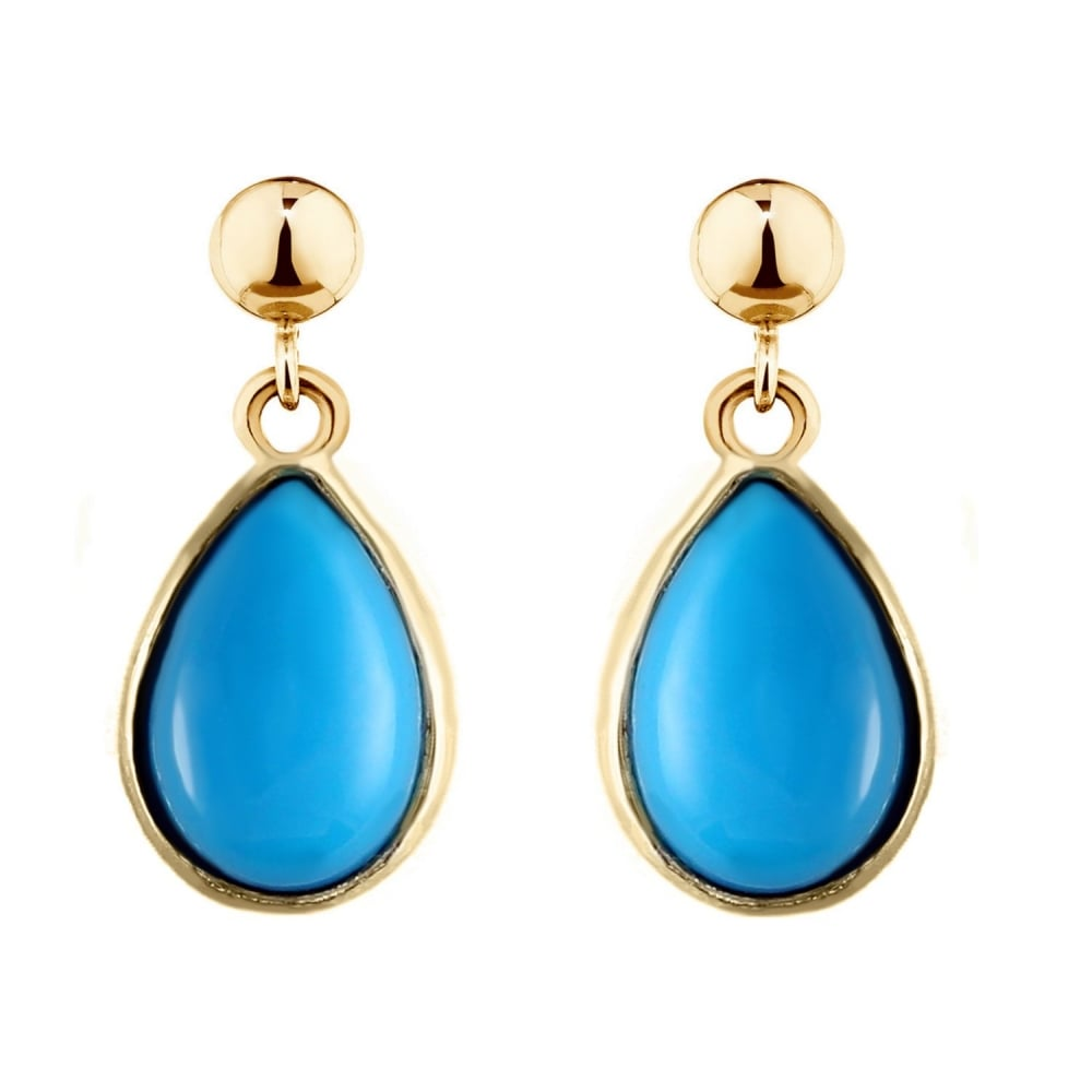 9ct Yellow Gold 9x7mm Pear Turquoise Drop Earrings