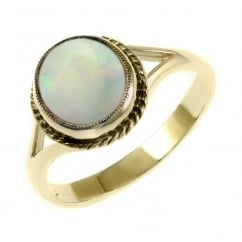 9ct yellow gold 9x8mm oval natural opal ring.