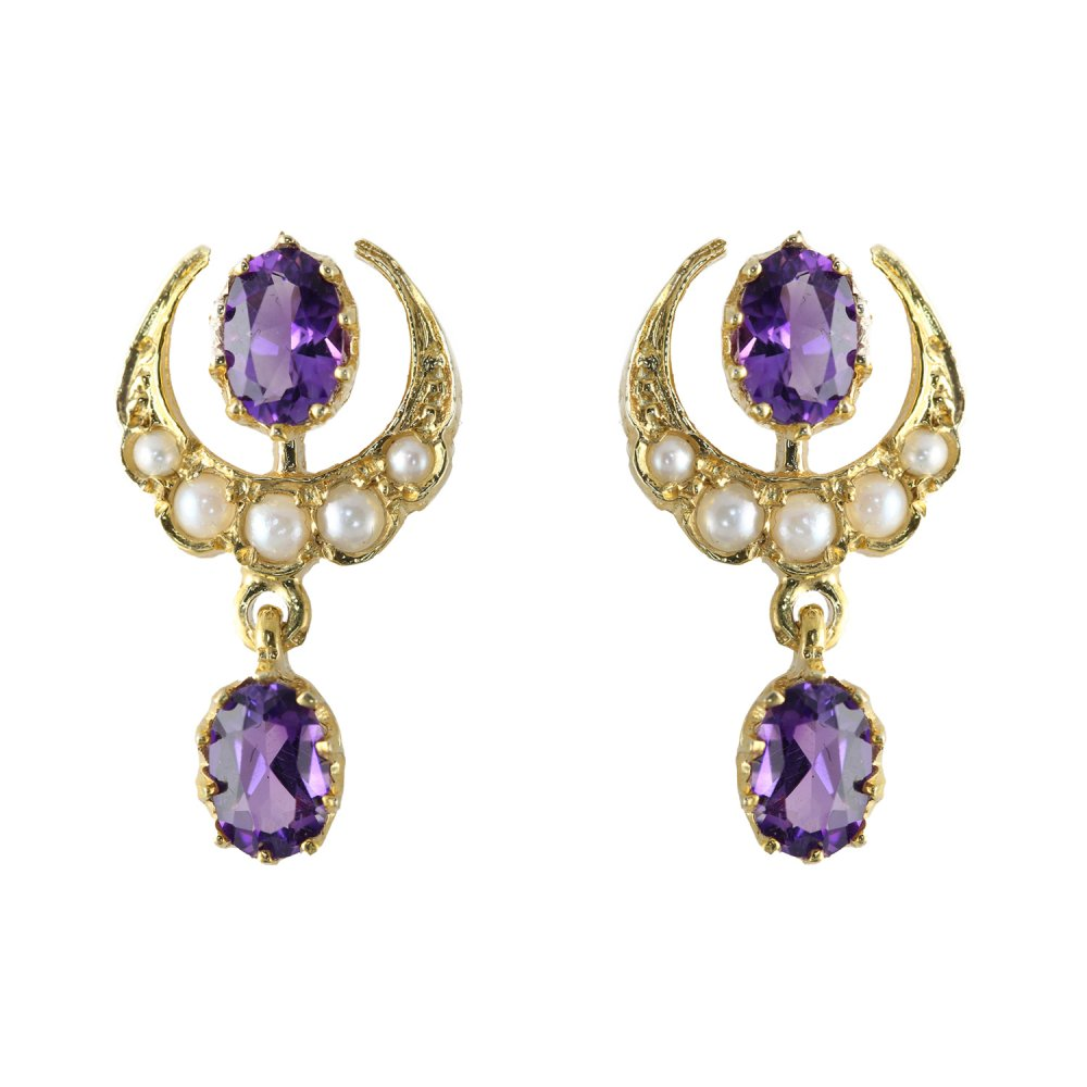 9ct Yellow Gold Amethyst Pearl Fancy Drop Earrings