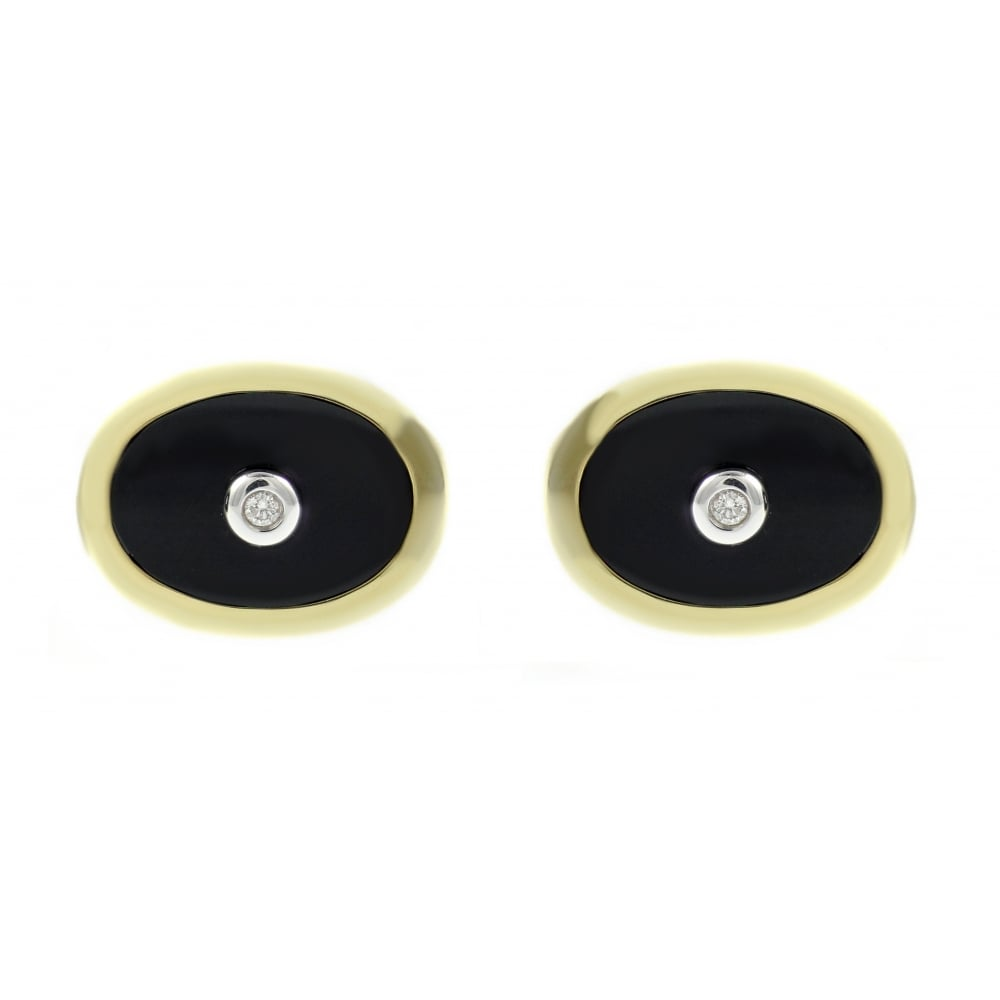 9ct Yellow Gold Black Onyx Diamond Swivel Cufflinks
