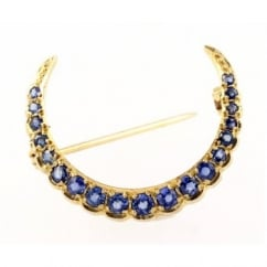 9ct yellow gold claw set round sapphire crescent brooch