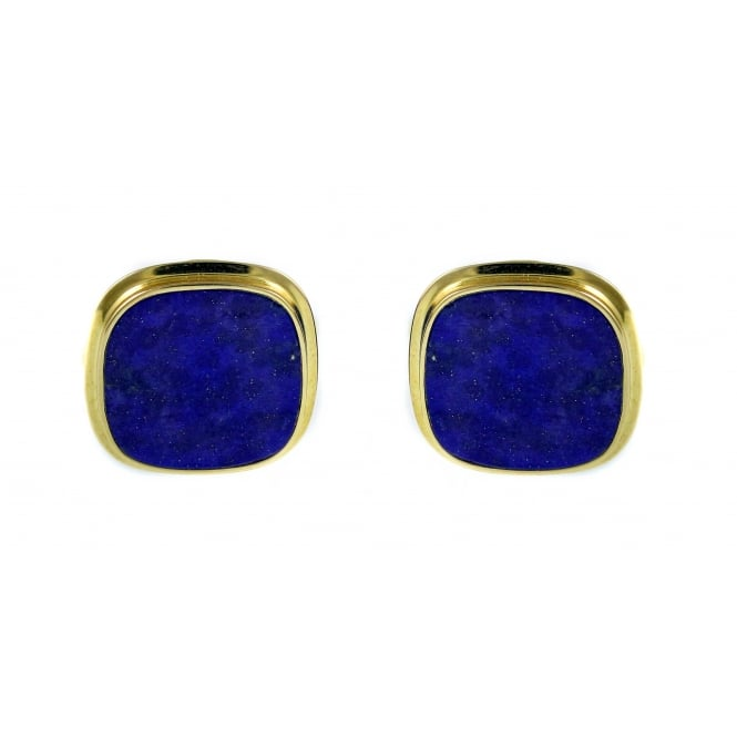 9ct yellow gold cushion lapis rubover swivel cufflinks.