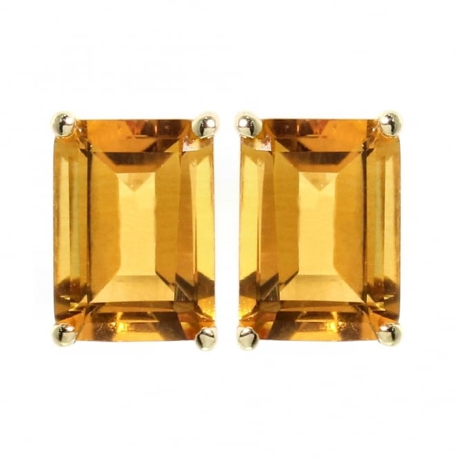 9ct yellow gold emerald cut citrine stud earrings.