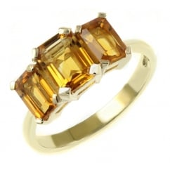 9ct yellow gold graduated emerald cut citrine 3 stone ring.