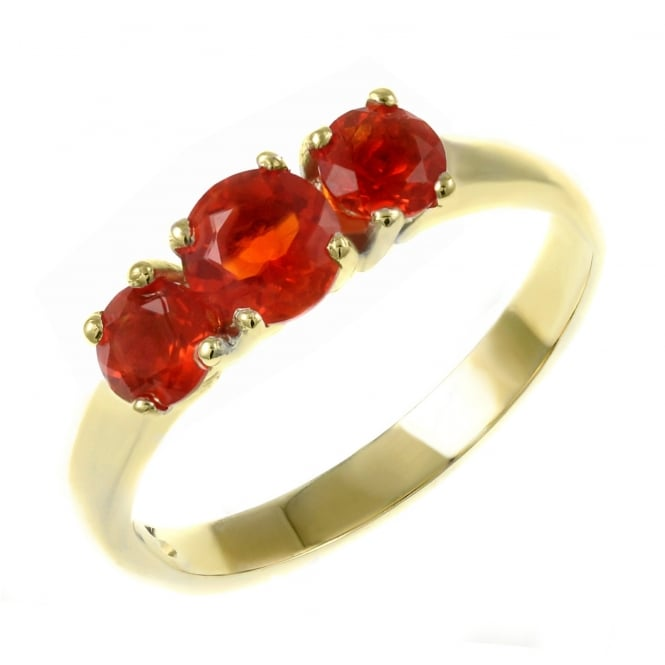 9ct yellow gold graduating fire opal 3 stone ring.
