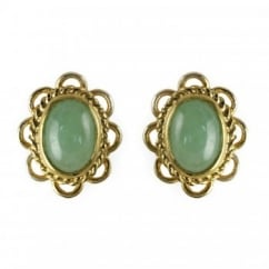 9ct yellow gold jade rubover stud earrings.