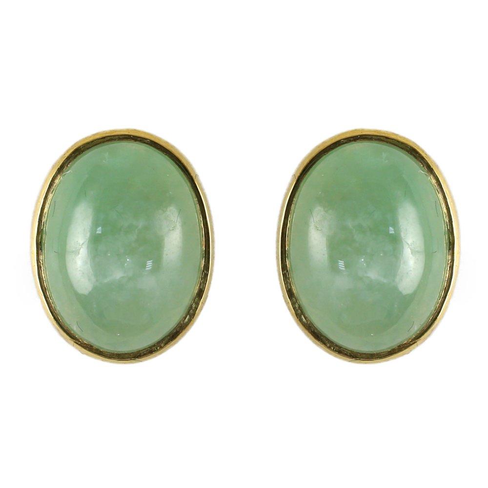 9ct Yellow Gold Jade Rubover Stud Earrings