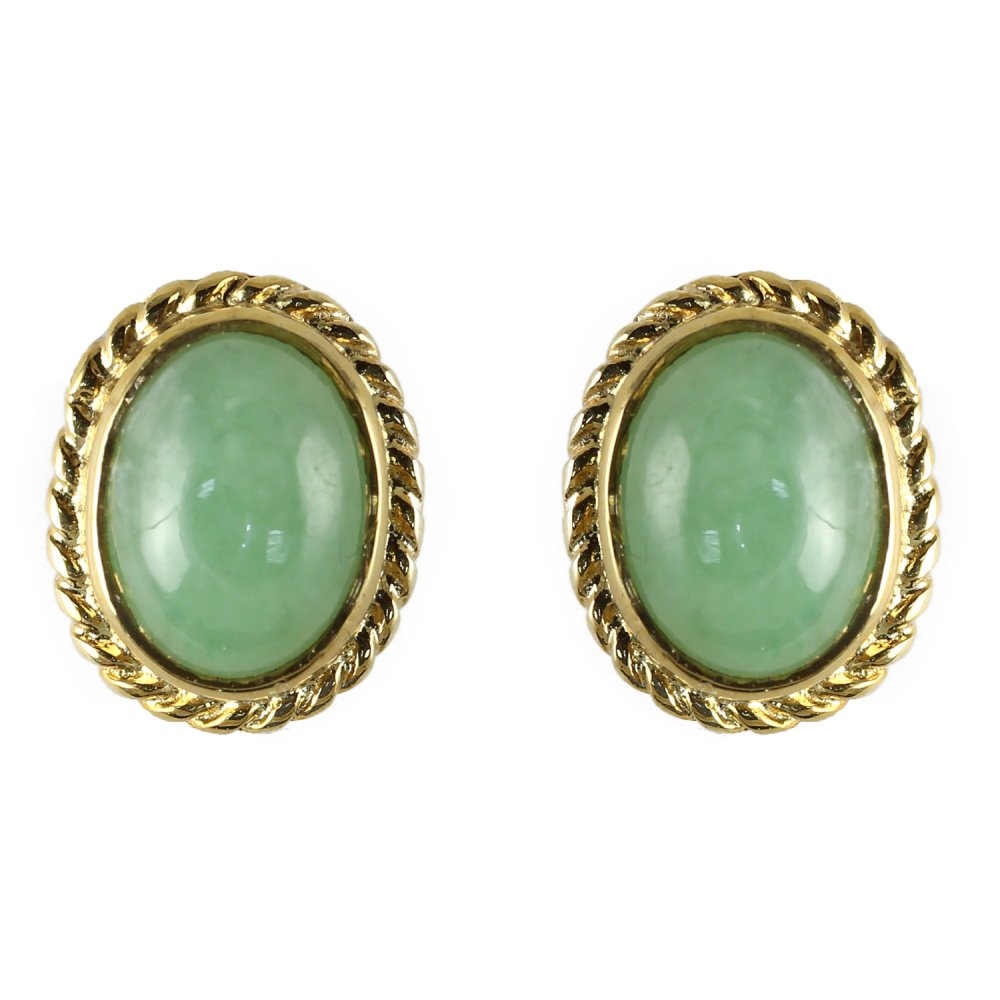 9ct Yellow Gold Jade Rubover Stud Earrings