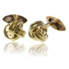 9ct yellow gold knot design polished swivel cufflinks.