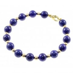 9ct yellow gold lapis & gold large bead bracelet.