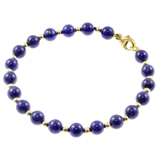 9ct yellow gold lapis & gold small bead bracelet.