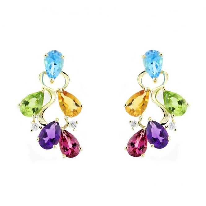 9ct yellow gold multi gemstone flower cluster earrings.
