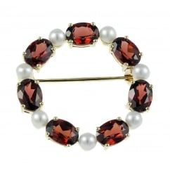 9ct yellow gold oval 7x5mm garnet & round pearl brooch.