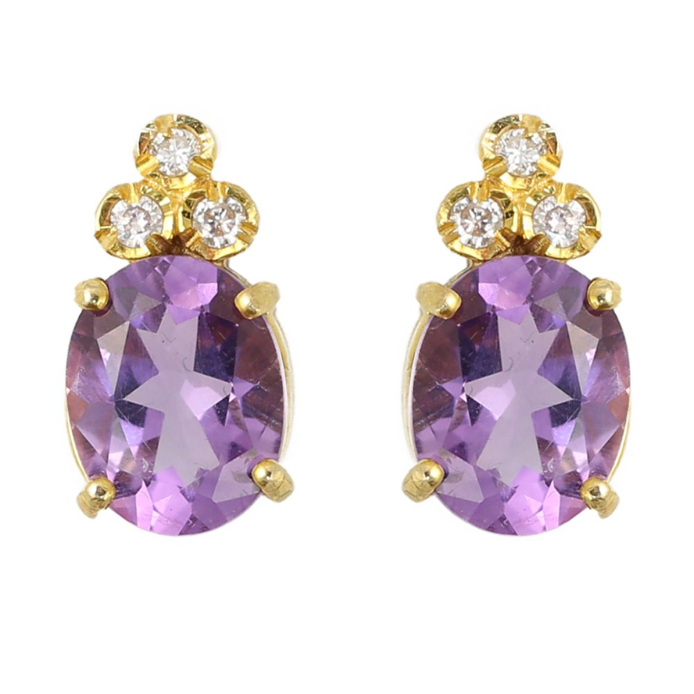 9ct Yellow Gold Oval Amethyst Diamond Stud Earrings